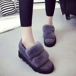 Yoflap - Furry Trim Hidden Wedge Slip-Ons