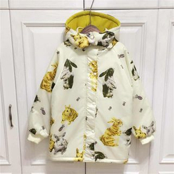 Moricode - Rabbit Print Hooded Padded Coat