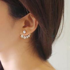 Ticoo - Faux Pearl Rhinestone Asymmetric Earrings