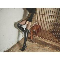 UUZONE - Inset Shorts Zip-Detail Faux-Suede Mini Skirt