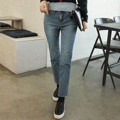 Seoul Fashion - Straight-Cut Washed Jeans