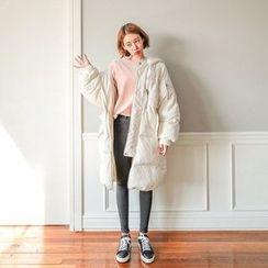 Seoul Fashion - Hooded Zip-Pocket Long Padded Coat