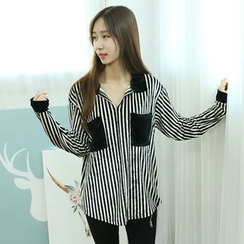 Dodostyle - Stripe Dual-Pocket Velvet Shirt
