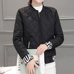 lilygirl - Lettering Quilted Bomber Jacket