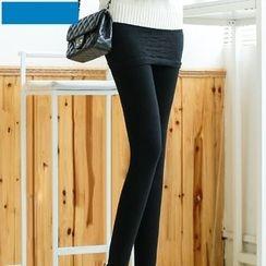 Shopin - Inset Ruched Skirt Fleece-Lined Leggings