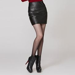 O.SA - Faux-Leather Buttoned Skirt