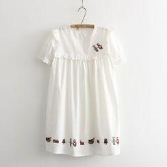 Aigan - 刺绣荷叶边A字连衣裙