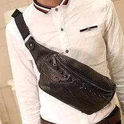 BagBuzz - Studded Genuine Leather Waist Bag