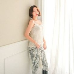 Seoul Fashion - Spaghetti-Strap Lace Long Dress