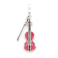 MBLife.com - 925 Sterling Silver Enameled Pink Violin Music Charm, Fashion Jewelry Gift For Girl, Teens