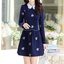 Romantica - Wool Blend Long-Sleeve Embroidered Dress