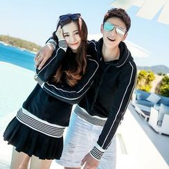 Evolu Fashion - Couple Matching Contrast Trim Hoodie