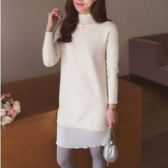 Cocofield - Chiffon Hem Mock Neck Knit Dress