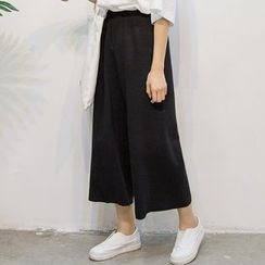Dasim - Plain Cropped Wide Leg Pants