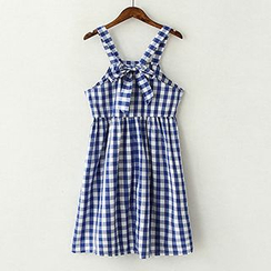 ninna nanna - Bow Plaid Pinafore Dress