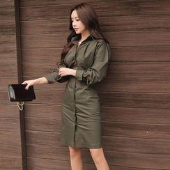 Gl.bY - Long-Sleeve Sheath Shirt Dress