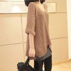 Simpure - 3/4-Sleeve Long Sweater
