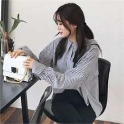 QNIGIRLS - Off-Shoulder Stripe Shirt