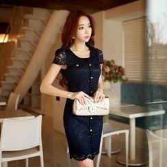 Dabuwawa - Short-Sleeve Lace Sheath Dress