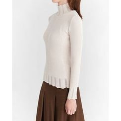 Someday, if - Mock-Neck Perforated-Detail Rib-Knit Top