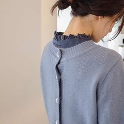 mimi&didi - Scallop-Hem Two-Way Pointelle-Knit Cardigan