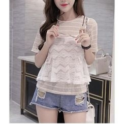 HazyDazy - Set: Striped Short Sleeve T-Shirt + Lace Camisole Top