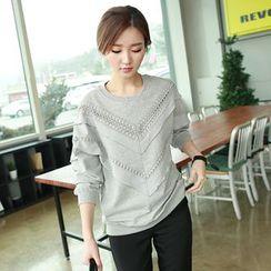 CLICK - Lace-Trim Sweatshirt