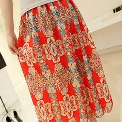 Jack Grace - Printed Chiffon Long Skirt