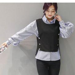 Eighoo - 套装: 条纹衬衫 + 饰钮扣背心