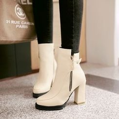 Pastel Pairs - Chunky Heel Side Zip Ankle Boots