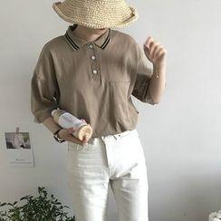 CosmoCorner - Plain Loose-Fit Short-Sleeve Polo-Shirt