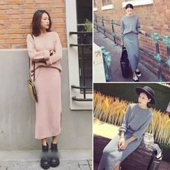 QZ Lady - Set: Ribbed Sweater + Long Knit Skirt