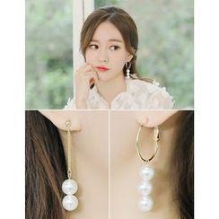 soo n soo - Faux-Pearl Dangle Earrings