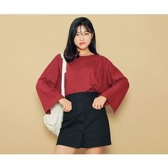 HOTPING - Bell-Sleeve Slit-Side Top