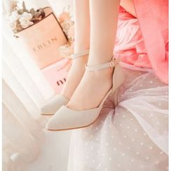 Charming Kicks - Ankle Strap Pointy Pumps