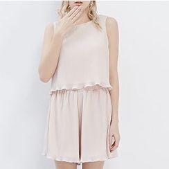 LUIMINE - Set: Sleeveless Slit-Back Top + Plain Culottes