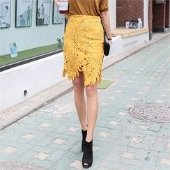 JVLLY - Lace-Overlay Pencil Skirt