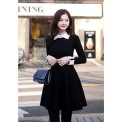 DEEPNY - Contrast-Trim A-Line Knit Mini Dress