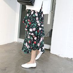 MARSHMALLOW - Banded-Waist Ruffled-Detail Floral-Pattern Skirt