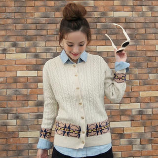 JK2 - Wool-Blend Patterned Cable-Knit Cardigan