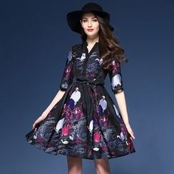 Elabo - Elbow-Sleeve Print A-Line Dress