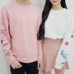 Seoul Homme - Couple Embroidered Sweatshirt