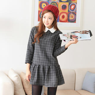 Cherryville - Windowpane Plaid Drop-Waist Dress