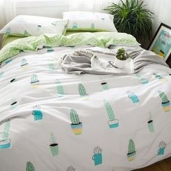 Petrie - Bedding Set: Cactus Print Duvet Cover + Bed Sheet + Pillowcase