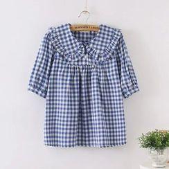 Aigan - Ruffled Short-Sleeve Blouse