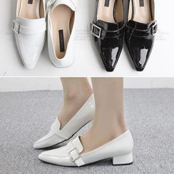 Reneve - Pointy-Toe Buckled Patent Loafers