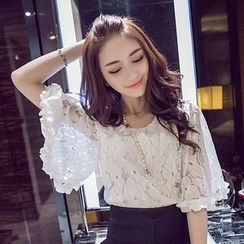 Lacyland - Lace Bell-Sleeve Top