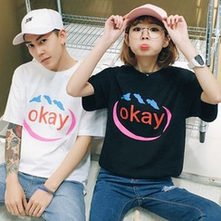 Evolu Fashion - Couple Matching Letter Short-Sleeve T-shirt