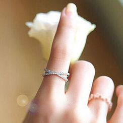 True Glam - Rhinestone Cross Ring