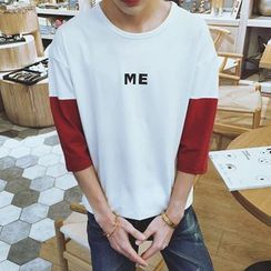 ZZP HOMME - 3/4-Sleeve Lettering T-Shirt